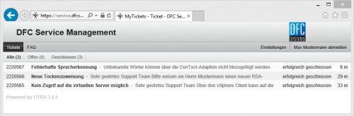Broschuere Service Screenshot DFC-Serviceportal